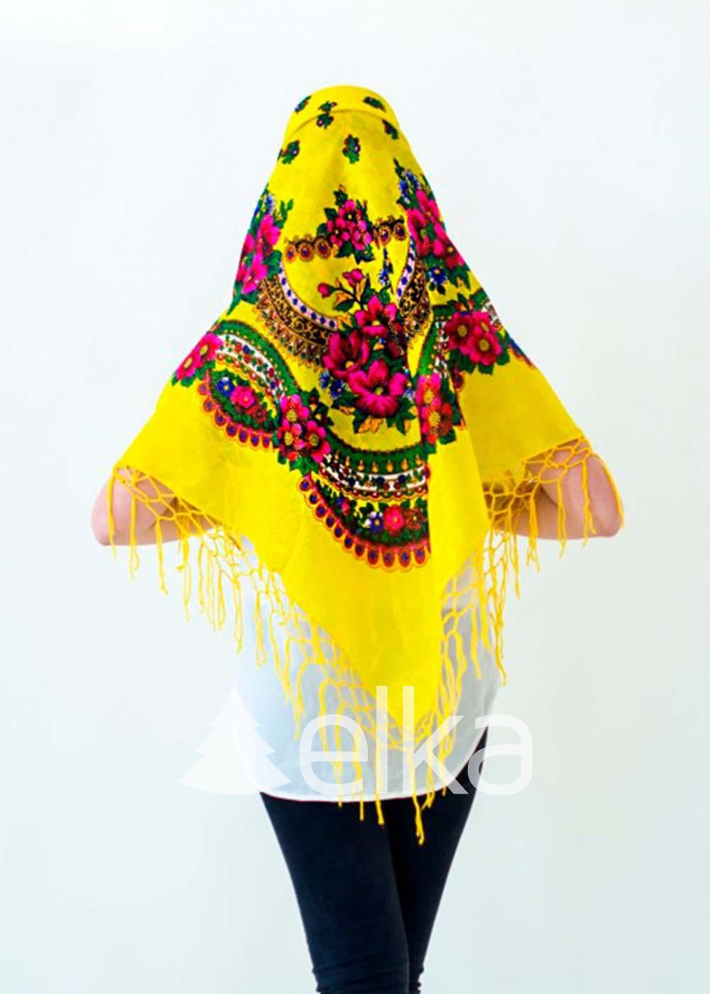 Платок Украинский желтый люрекс