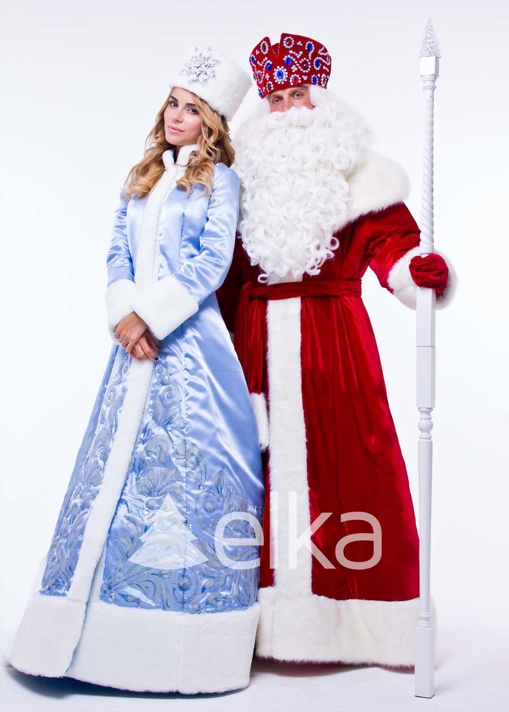 Костюм Деда Мороза и Снегурочки Люкс
