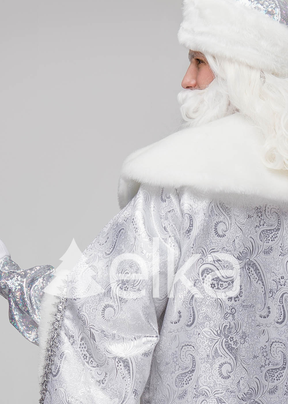 Костюм Деда Мороза Боярский серебрянный
